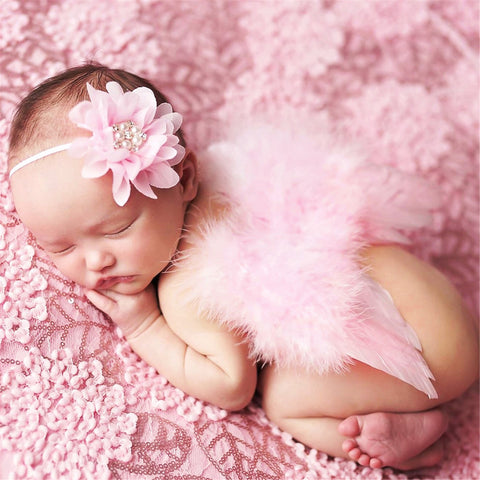 Baby Girl Angel Wings with Real Feathers & Headband
