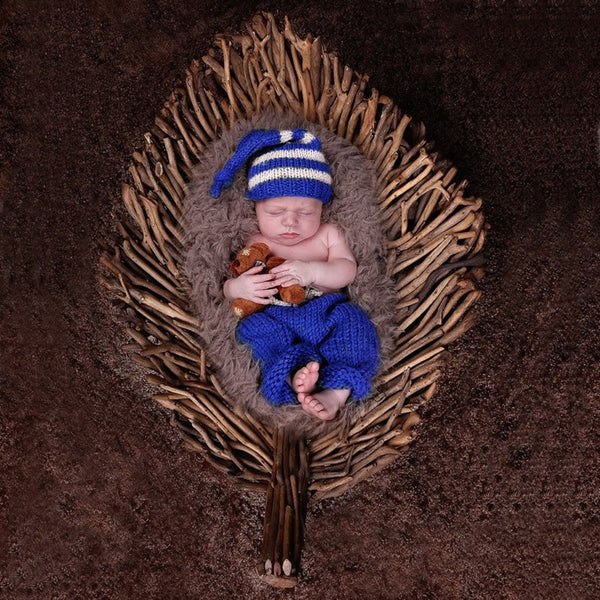Handmade Crochet Hat + Pant Outfits for Photography Props