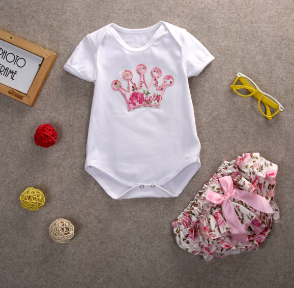Newborn Infant Baby Girls Party Crown Onsie + Floral Printed Pants 2pcs