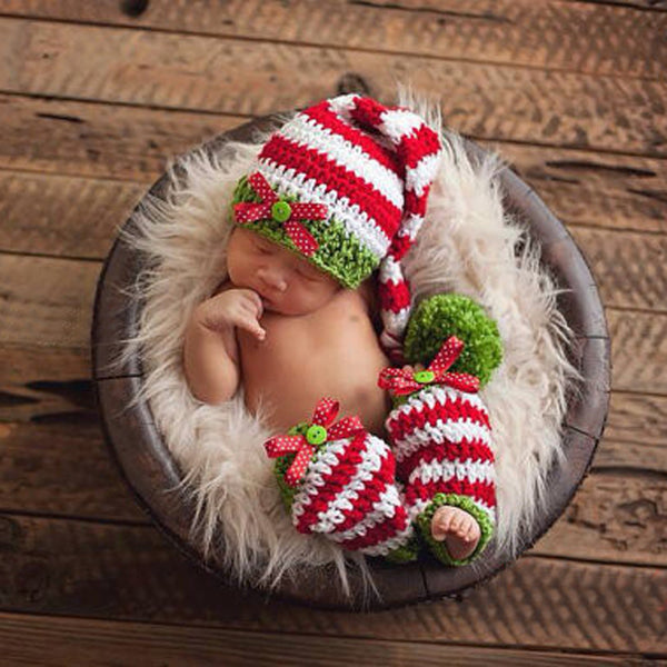 newborn baby christmas hatlegging crochet set photography prop