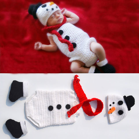 Snowman Handmade Crochet Costume Set Photography Prop