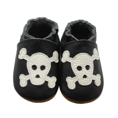 Genuine Leather Baby Goth Moccasins Newborn Infant Shoes - ScooterBugDesign.com