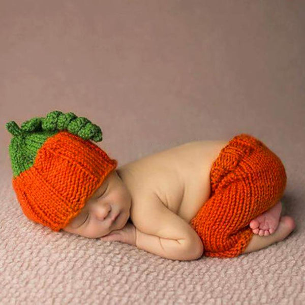 Hand Crochet Little Pumpkin Set with Hat + Pants