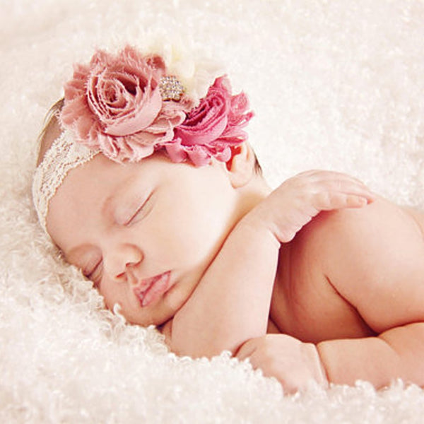 1pc Newborn Girl Shabby Flower Headband