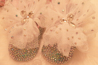Baby Bling Crystal Newborn Baby Girl Handmade Shoes Booties - ScooterBugDesign.com