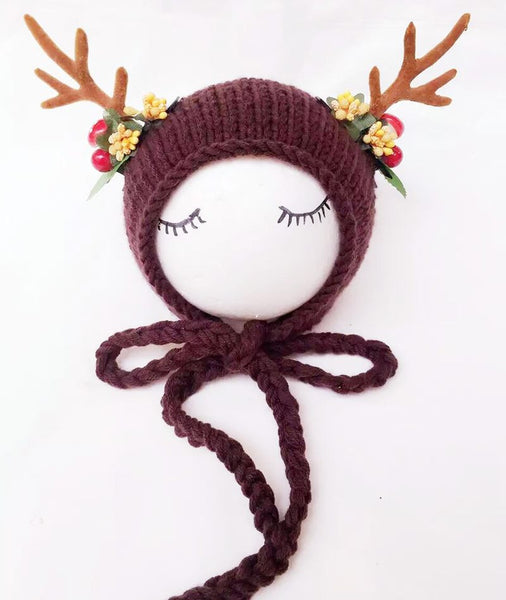 Christmas Crochet Newborn Infant Deer Antler Beanie