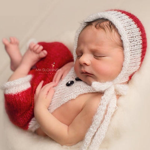 2pcs Newborn Christmas Crochet Set Photography Prop