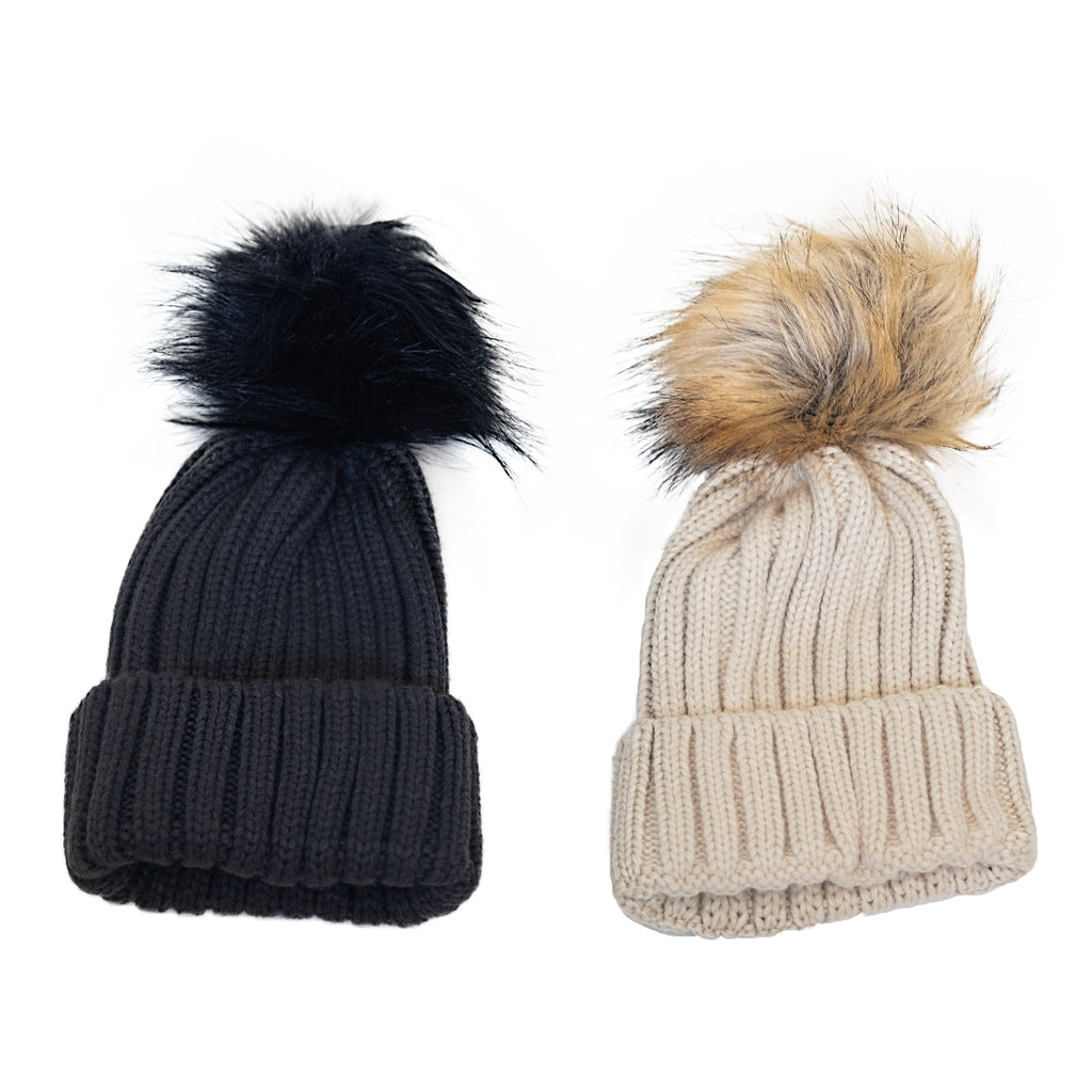 Fit For Barre Detachable Faux Fur Pom Pom Hats in black and tan colors. Each sold separately or purchase both and save.