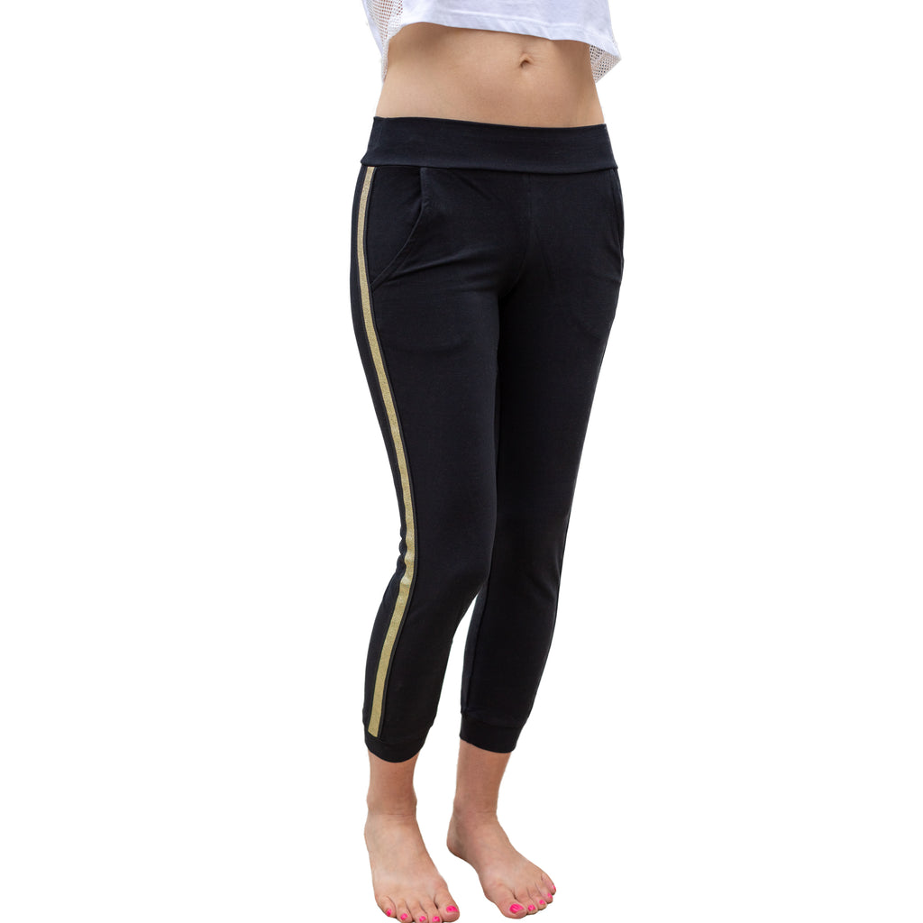 Gold Stripe Cropped Jogger (black) with open front pockets, fit for barre and beyond.