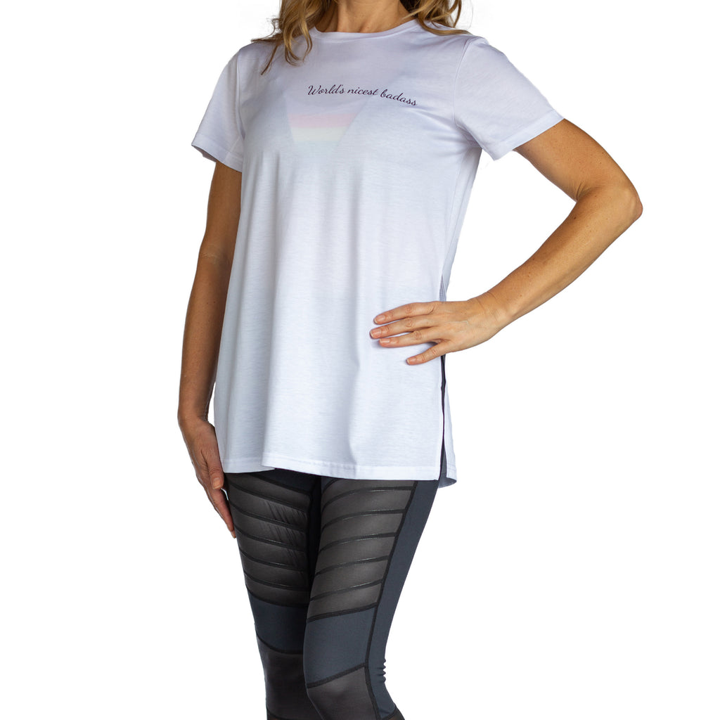 World's Nicest Badass Short Sleeve White Top With High Side Slits From Fit For Barre