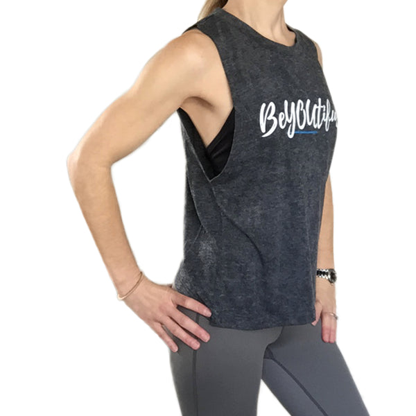 Fit For Barre Beyoutiful distressed grey tank.
