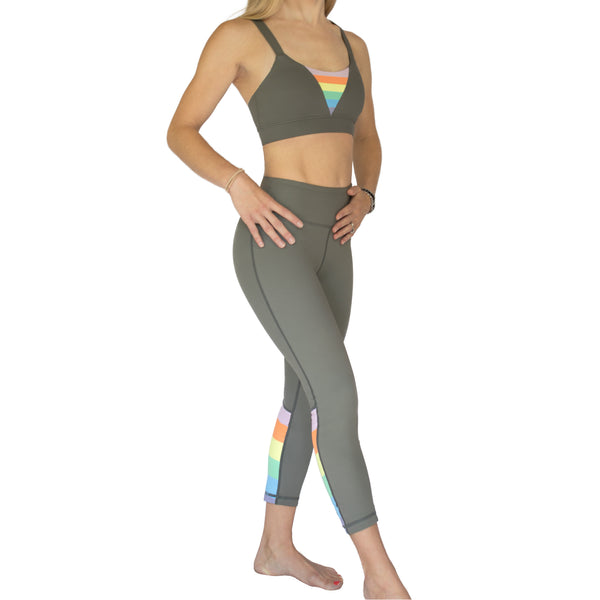 Fit For Barre Rainbow Sports Bra in grey, accented with double straps in the back and rainbow design in the front. Rainbow Block Legging sold separately.