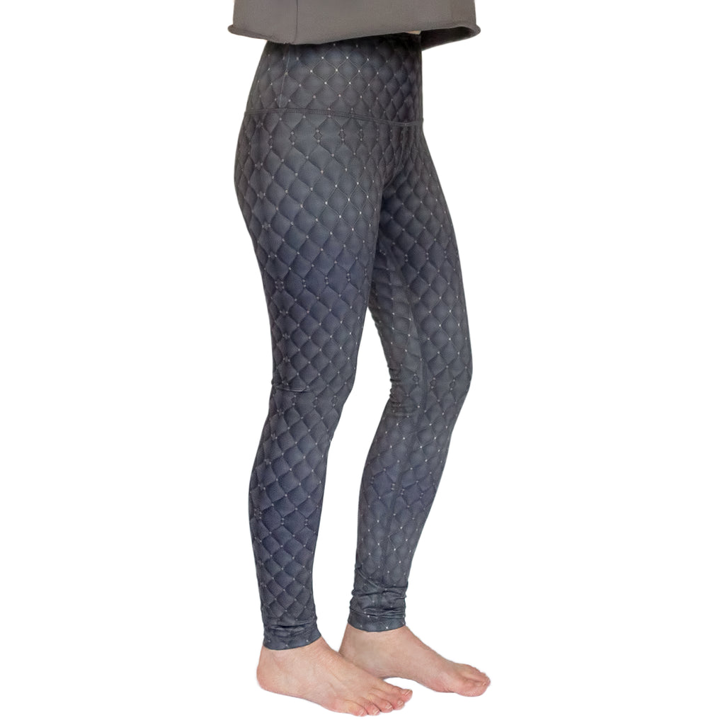 Fit For Barre High Waisted Mystique Legging with a unique grey textured looking pattern.
