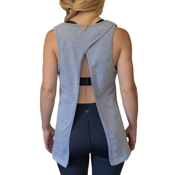 "Fit For Barre Open Back Flowy Tank with gold foil print of ""I Barre For Fun"". Comes in black or heather grey and can be tied in the back for a more fitted style."