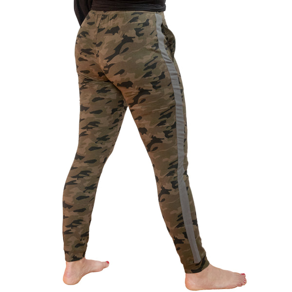 Fit For Barre Camo Joggers with grey side stripe. Cute and cozy barre style for the barre and beyond.