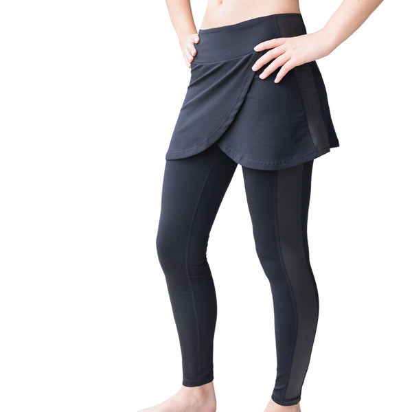 Fit For Barre Studio Skirted Legging in black fabric, accented with flowy split skirt and faux leather side stripe on each leg.