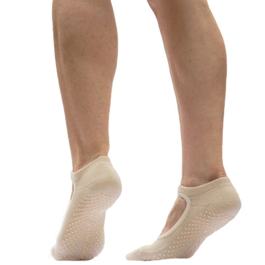 Fit For Barre neutral mary jane style barre, yoga, pilates socks.