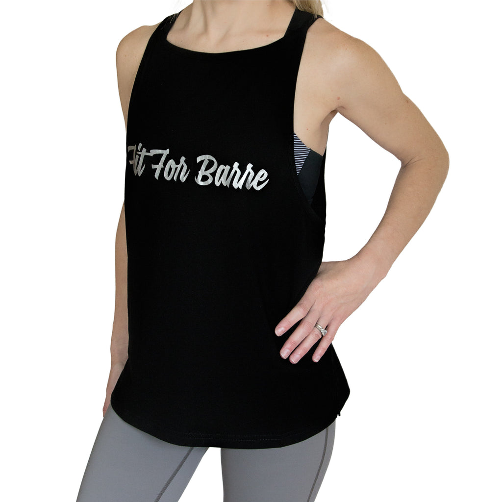 Fit For Barre Signature Muscle Tank with silver foil text on a black barre tank.