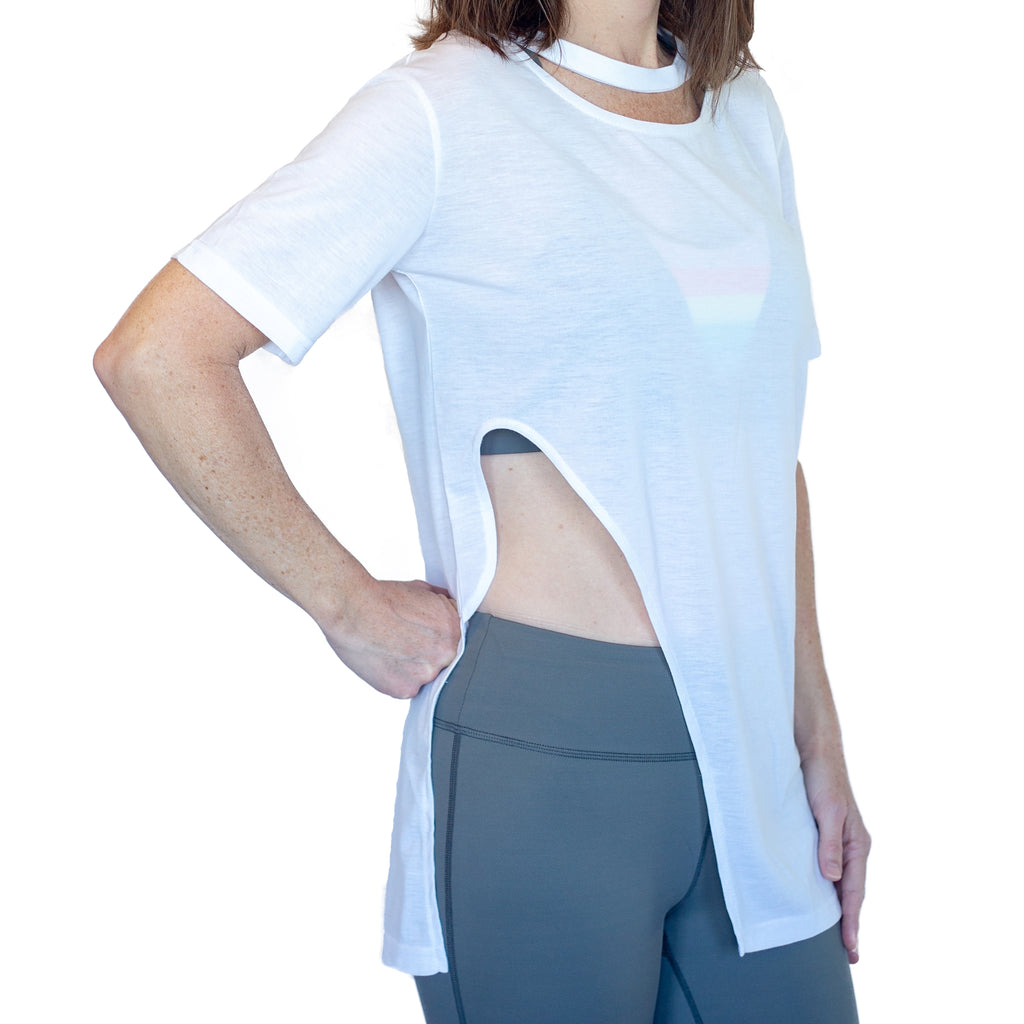 Fit For Barre Side View Tee accented by an asymmetrical side slit and rounded neckline. A great design for barre, beach or brunch.