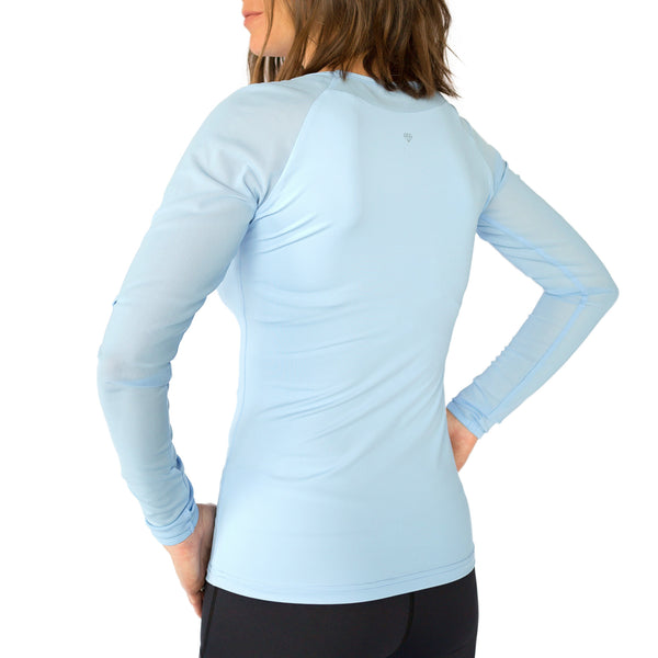 Fit For Barre Fitted Long Mesh Sleeve Top in a periwinkle blue, buttery soft,  polyester blend fabric.