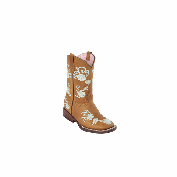 Girls Quincy Vine Floral Design Square Toe Boots
