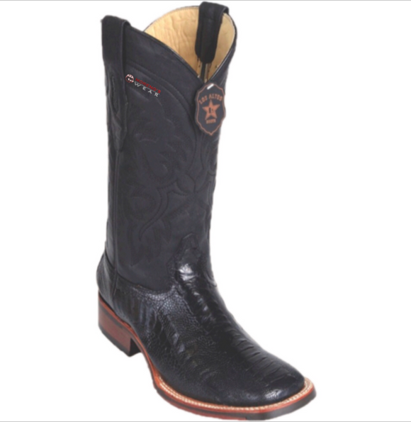 Men's Los Altos Ostrich Leg Boots Wide Square Toe (Rubber Sole)