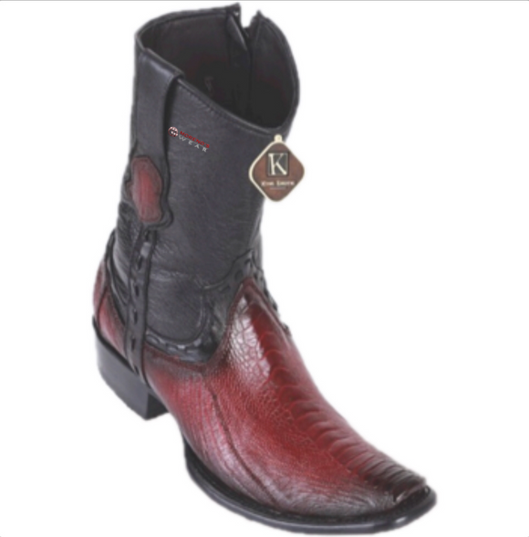 Men's King Exotic Ostrich Leg Ankle Boots Dubai Toe