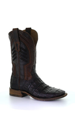 Men's Corral Caiman Oil Brown Boots A3878 Wide Square Toe