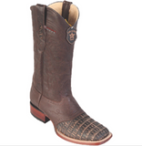 Men's Los Altos Caiman Belly Boots With Saddle Wide Square Toe