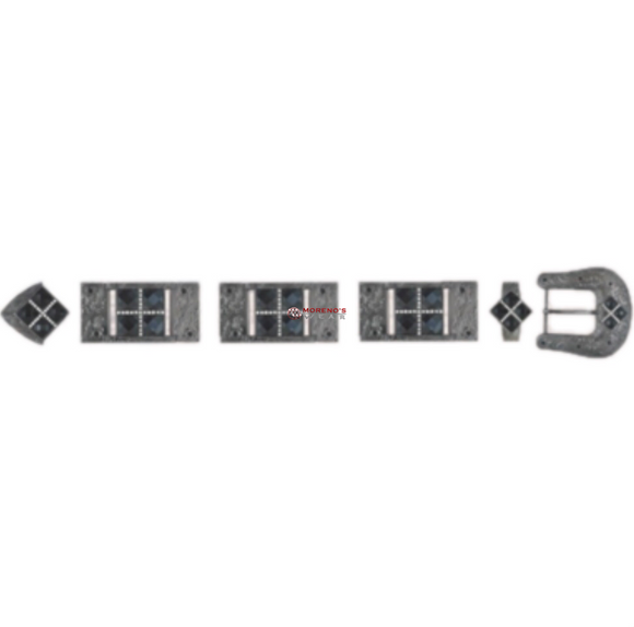 Los Altos Dark Silver Buckle Set With 4 Stones