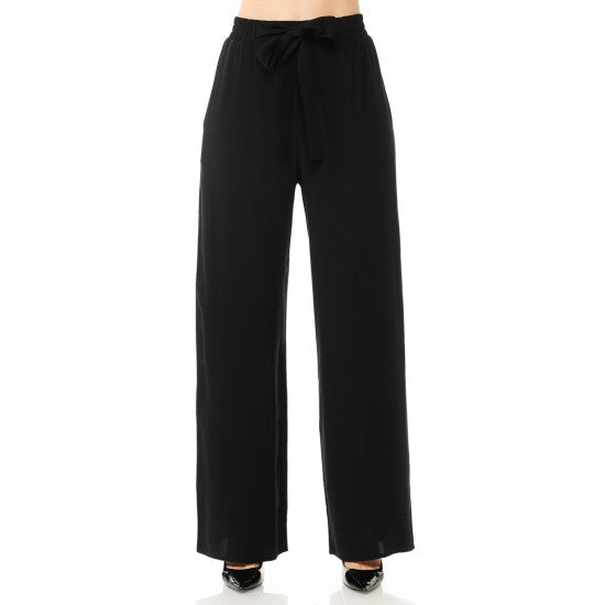 Dayanna Tie Front PaperBag Palazzo Pants Black