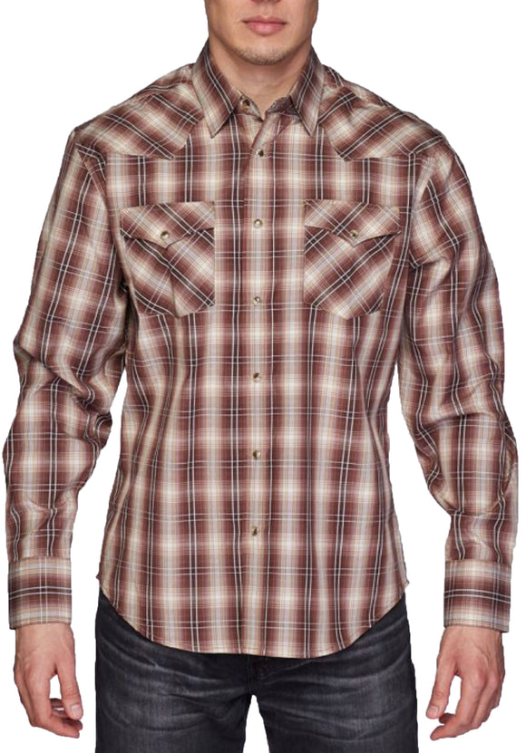 Austin Squared/Lined Western Shirt Light Brown