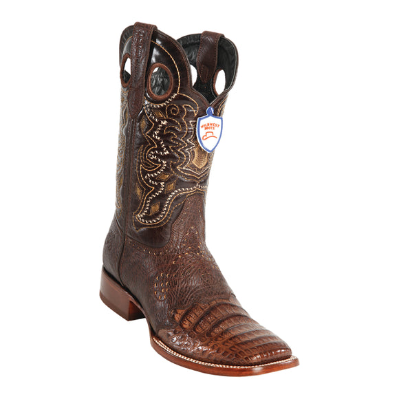 Men's Wild West Caiman Belly Saddle Boots Wide Square Toe