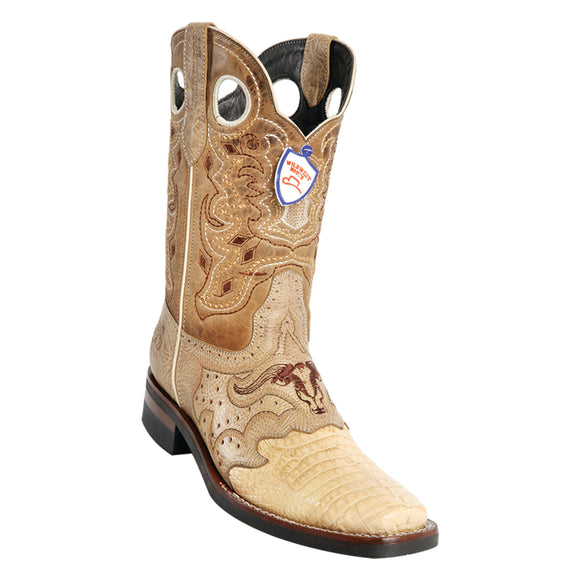 Men's Wild West Caiman Belly With Rubber Sole Boots Square Toe