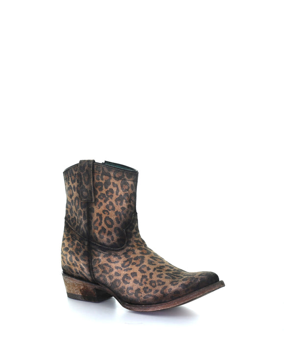 Women's Corral leopard print zipper ankle boot round toe C3627