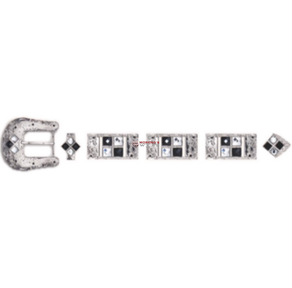 Los Altos Silver Buckle Set With 4 Stones