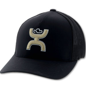 "Men's Hooey ""Coach"" Hooey Black 6-Panel Flexfit with Gold and White Logo Cap"