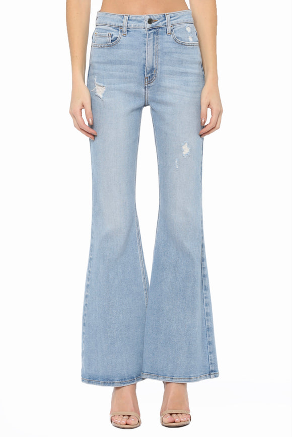 Women's Light Blue High Rise Distress Super Flare Jeans