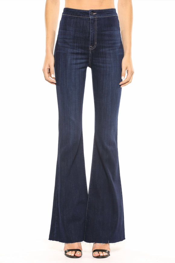 Women's High Rise Dark Wash Super Flare Jeans