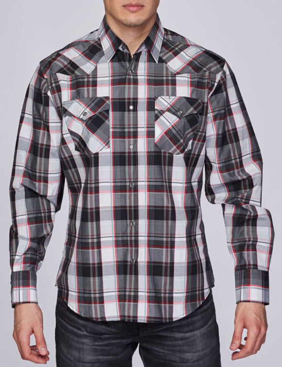 Austin Squared/Lined Western Shirt Black