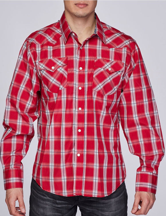 Austin Squared/Lined Western Shirt Red