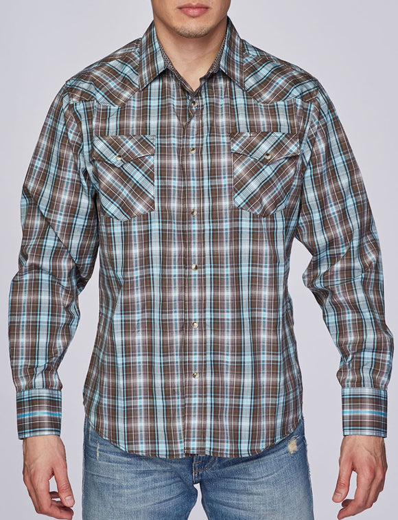 Austin Squared/Lined Western Shirt Brown w/Teal
