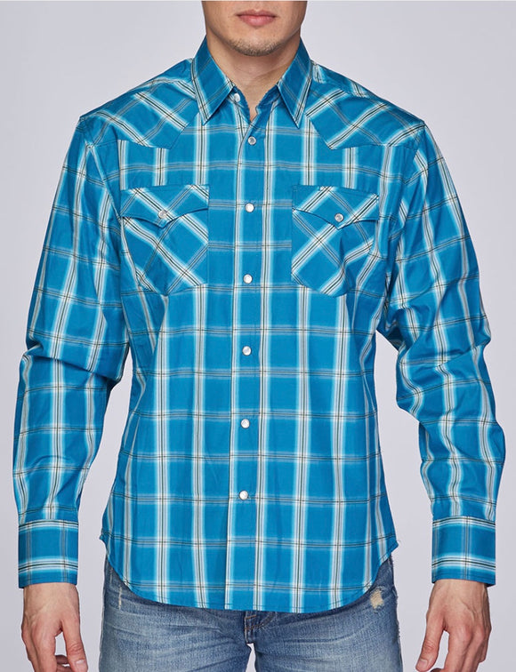 Austin Squared/Lined Western Shirt Teal