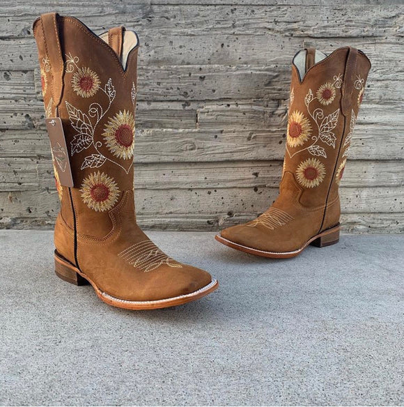 Women's Quincy Sunflower Cowgirl Boots Square Toe
