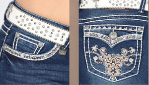 Belle Denim Western Embroidered Skinny Jeans