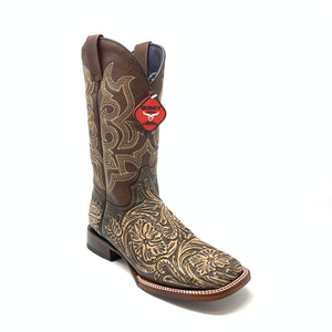 Men's Quincy Hand Tooled Print Boots Wide Square Toe