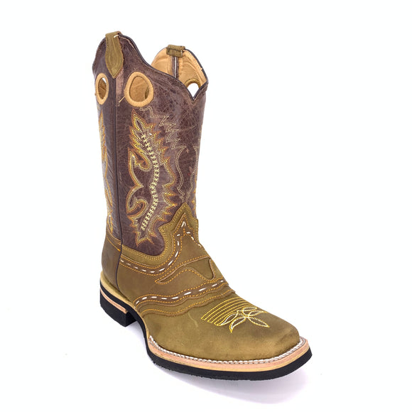 Men's Quincy Crazy With Bull Design Boots Square Toe