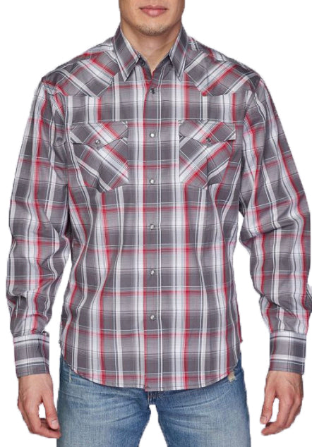 Austin Squared/Lined Western Shirt Light Gray
