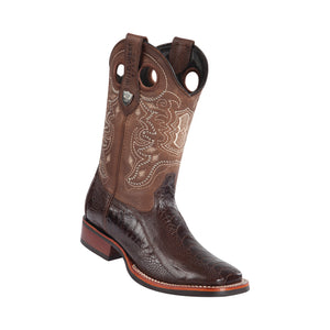 Men's Wild West Ostrich Leg With Rubber Sole Boots Wide Square Toe