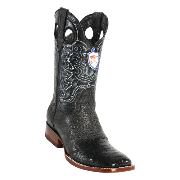 Men's Wild West Ostrich Leg Saddle Boots Wide Square Toe
